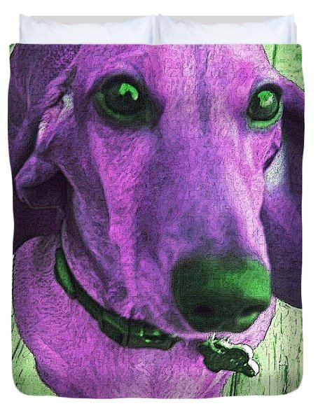 Dachshund - Purple People Greeter Duvet Cover by Rebecca Korpita