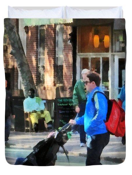 Daddy Pushing Stroller Greenwich Village Duvet Cover by Susan Savad