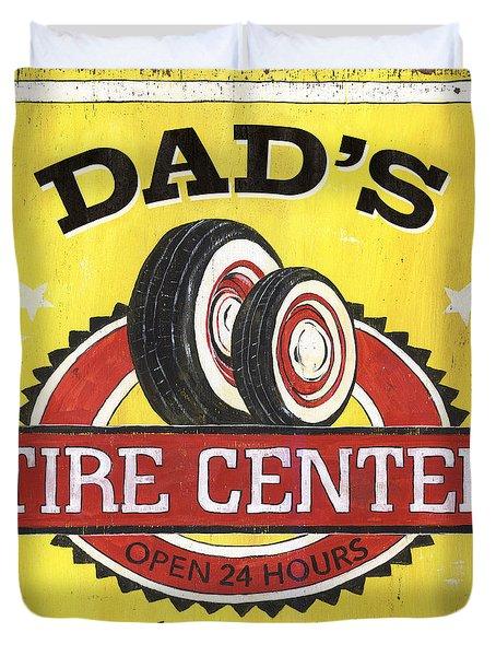 Dad's Tire Center Duvet Cover by Debbie DeWitt