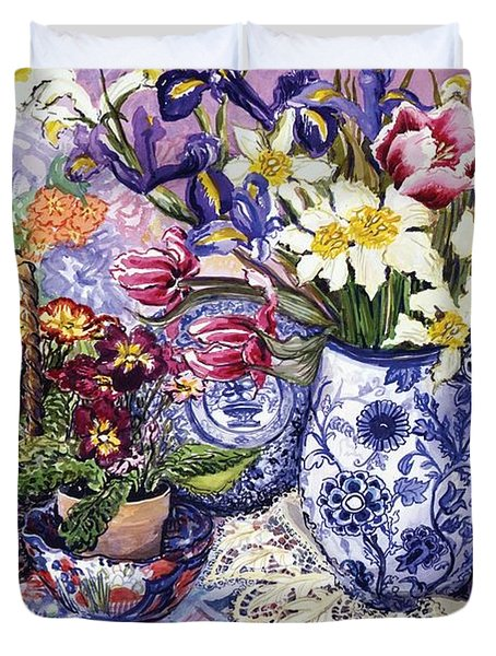 Daffodils Tulips And Iris In A Jacobean Blue And White Jug With Sanderson Fabric And Primroses Duvet Cover by Joan Thewsey