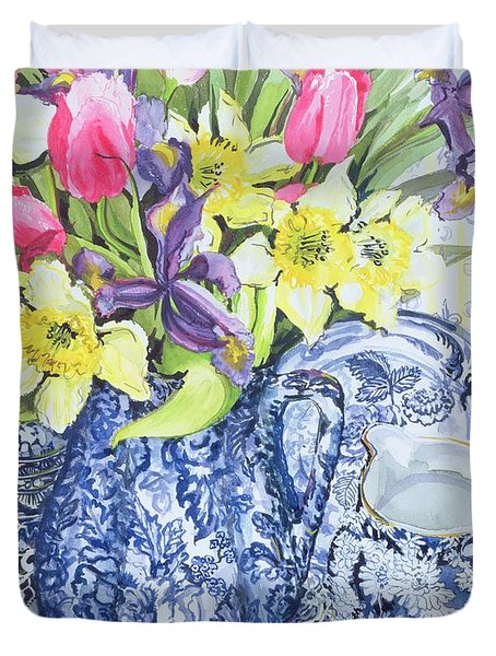 Daffodils Tulips And Irises With Blue Antique Pots  Duvet Cover by Joan Thewsey