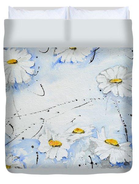 Daisies - Flower Duvet Cover by Ismeta Gruenwald