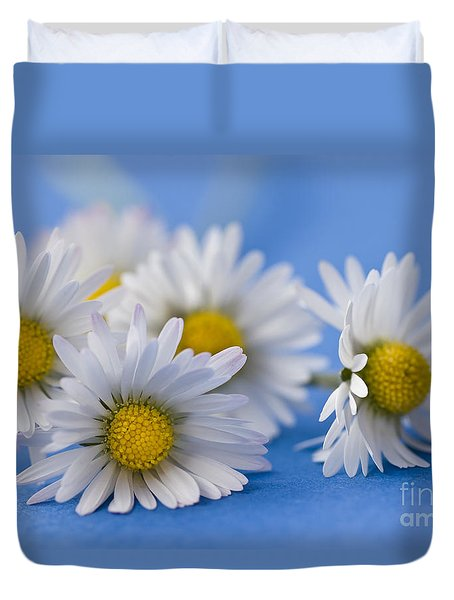 Daisies On Blue Duvet Cover by Jan Bickerton