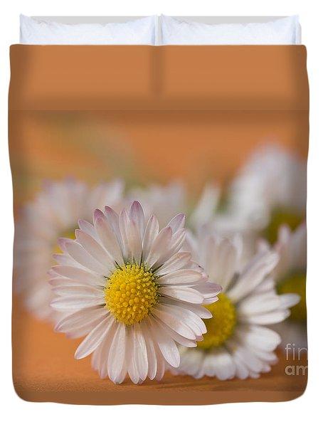 Daisies On Orange Duvet Cover by Jan Bickerton