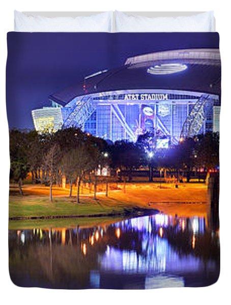 Dallas Cowboys Stadium At Night Att Arlington Texas Panoramic Photo Duvet Cover by Jon Holiday