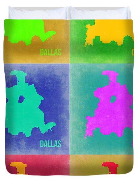 Dallas Pop Art Map 3 Duvet Cover by Naxart Studio