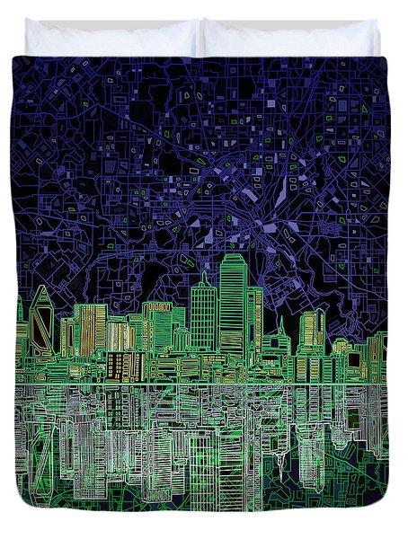 Dallas Skyline Abstract 4 Duvet Cover by Bekim Art