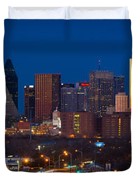 Dallas Skyline Panorama Duvet Cover by Inge Johnsson