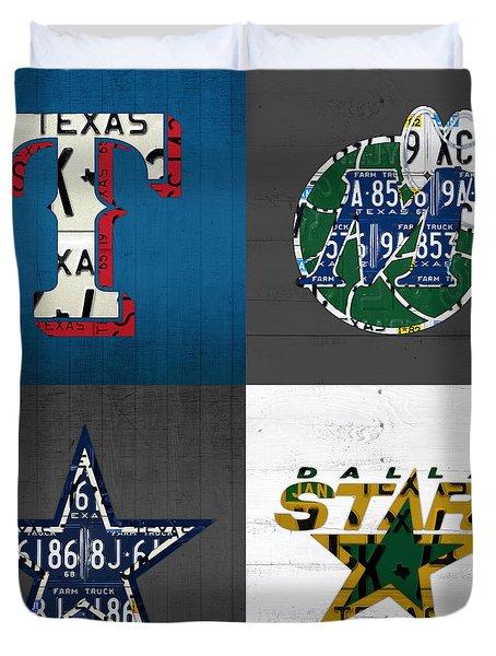 Dallas Sports Fan Recycled Vintage Texas License Plate Art Rangers Mavericks Cowboys Stars Duvet Cover by Design Turnpike