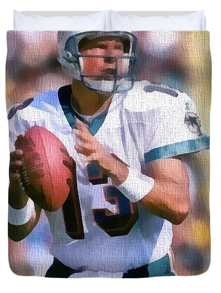 Dan Marino Canvas Duvet Cover by Dan Sproul