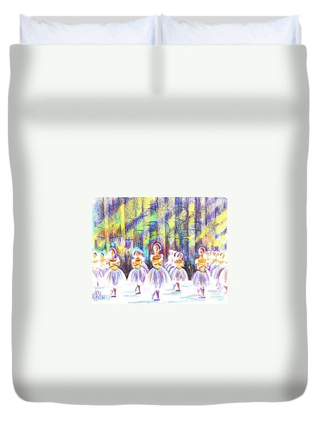Dancers In The Forest Duvet Cover by Kip DeVore