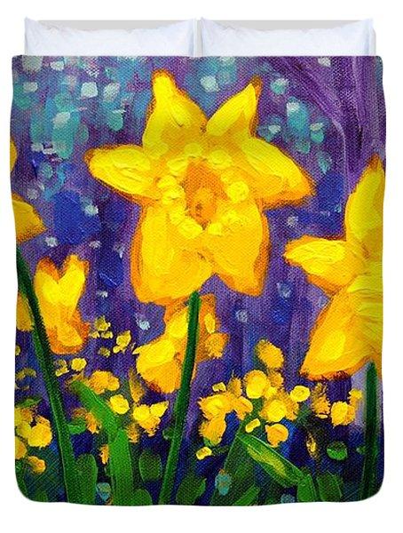 Dancing Daffodils    Cropped Duvet Cover by John  Nolan