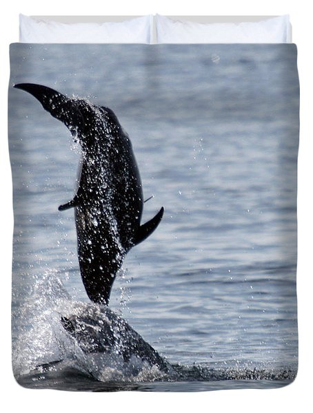 Dancing Dolphins Duvet Cover by Bob Hislop