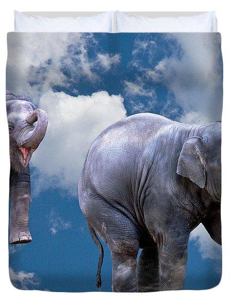 Dancing Elephants Duvet Cover by Jean Noren