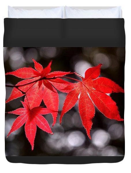Dancing Japanese Maple Duvet Cover by Rona Black