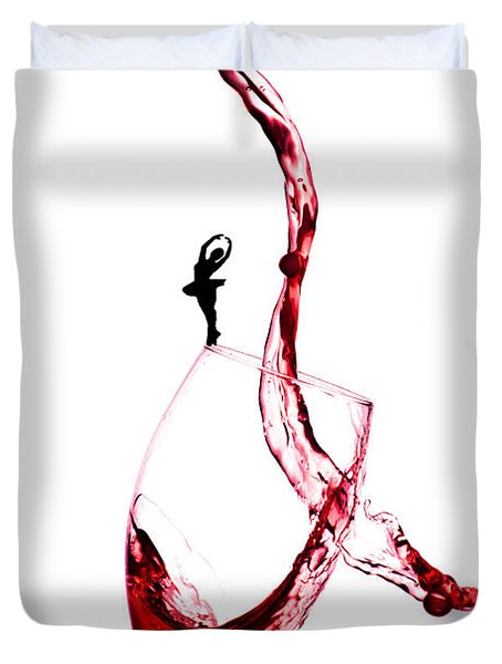 Dancing On A Glass Cup With Splashing Wine Little People On Food Duvet Cover by Paul Ge
