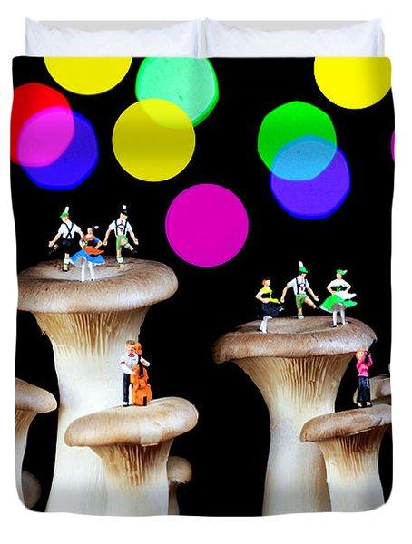 Dancing On Mushroom Under Starry Night Duvet Cover by Paul Ge