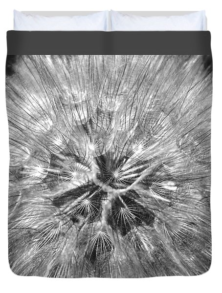 Dandelion Fireworks In Black And White Duvet Cover by Rona Black