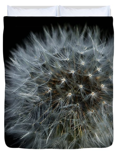 Dandelion Seed Head On Black Duvet Cover by Sharon  Talson
