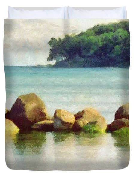 Danish Coast On The Rocks Duvet Cover by Jeff Kolker