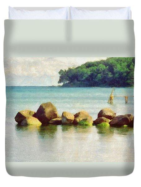 Danish Coast On The Rocks Duvet Cover by Jeff Kolker