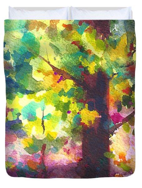 Dappled - light through tree canopy Duvet Cover by Talya Johnson