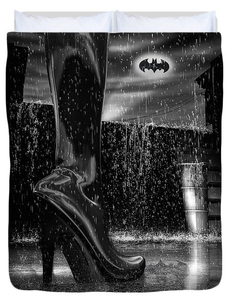 Dark Knight Shinny Boots Of  Leather Duvet Cover by Bob Orsillo