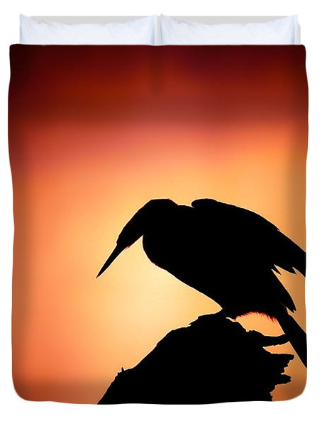 Darter Silhouette With Misty Sunrise Duvet Cover by Johan Swanepoel