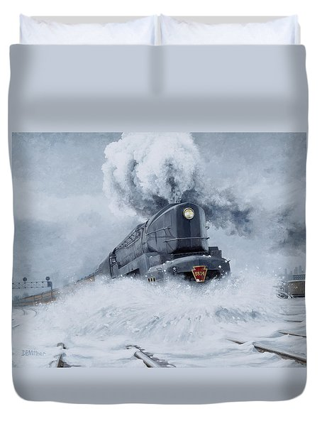 Dashing Through The Snow Duvet Cover by David Mittner