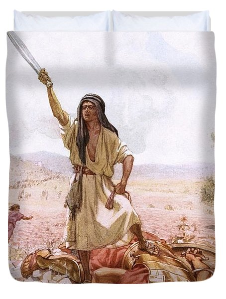 David And Goliath Duvet Cover by William Brassey Hole