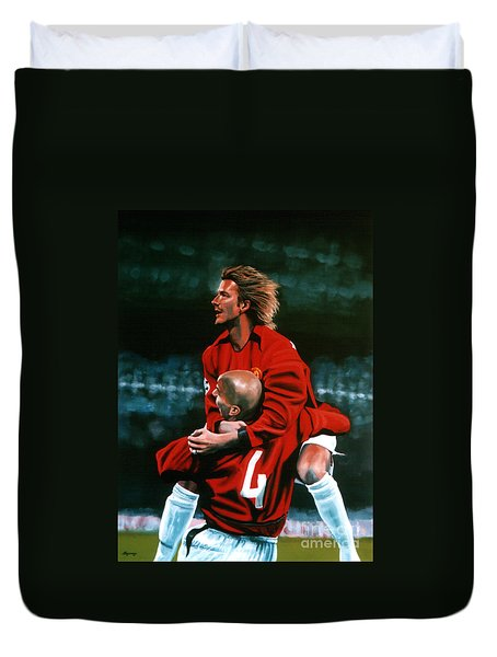David Beckham And Juan Sebastian Veron Duvet Cover by Paul Meijering