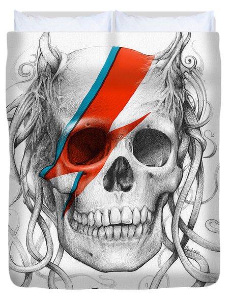 David Bowie Aladdin Sane Medusa Skull Duvet Cover by Olga Shvartsur