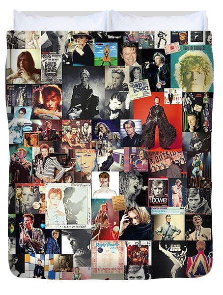 David Bowie Collage Duvet Cover by Taylan Soyturk