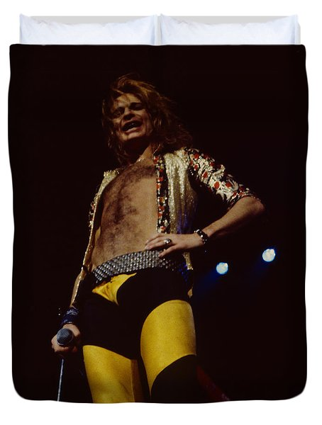 David Lee Roth - Van Halen At The Oakland Coliseum 12-2-1978 Rare Unreleased Duvet Cover by Daniel Larsen