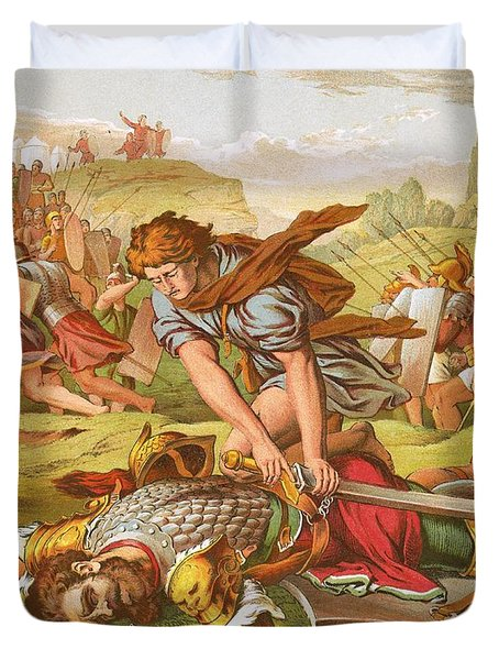 David Slaying The Giant Goliath Duvet Cover by English School