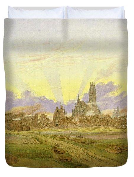 Dawn At Neubrandenburg Duvet Cover by Caspar David Friedrich