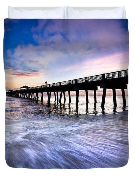 Dawn At The Juno Beach Pier Duvet Cover by Debra and Dave Vanderlaan