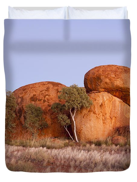 Dawn Devils Marbles Northern Territory Duvet Cover by Colin and Linda McKie