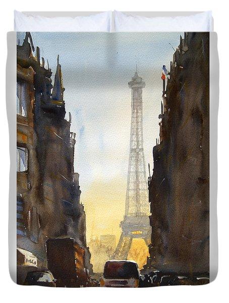 Dawn In Paris Duvet Cover by James Nyika