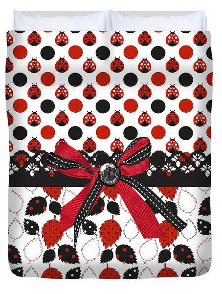 Dazzling Ladybugs  Duvet Cover by Debra  Miller
