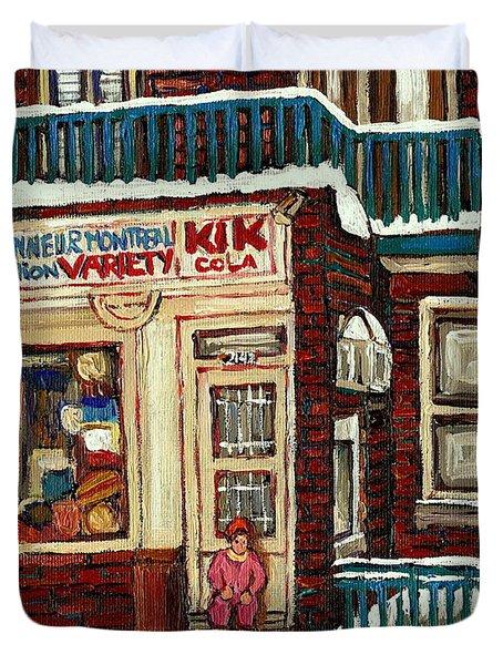 De Bullion Street Depanneur Kik Cola Montreal Streetscenes Duvet Cover by Carole Spandau
