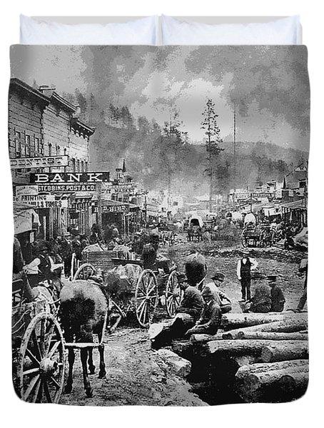 DEADWOOD SOUTH DAKOTA c. 1876 Duvet Cover by Daniel Hagerman