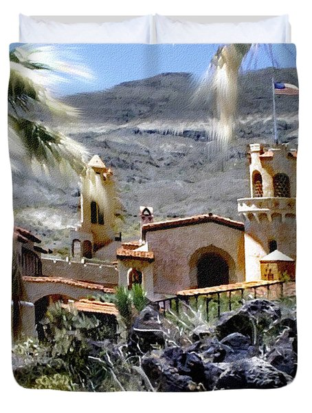 Death Valley Scotty's Castle Duvet Cover by Bob and Nadine Johnston