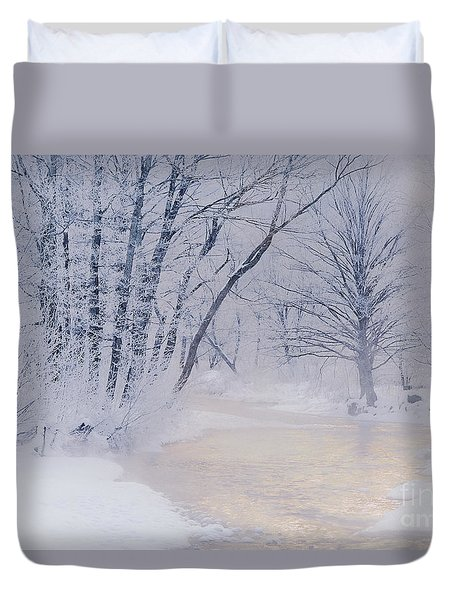 December Riverscape Duvet Cover by Alan L Graham