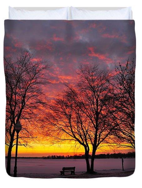 December Sunset Duvet Cover by Terri Gostola