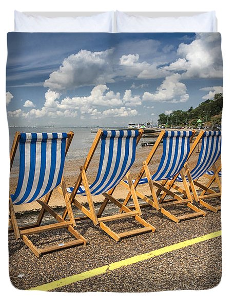 Deckchairs at Southend Duvet Cover by Sheila Smart