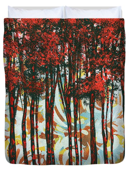 Decorative Abstract Floral Bird Landscape Painting Forest Of Dreams II By Megan Duncanson Duvet Cover by Megan Duncanson