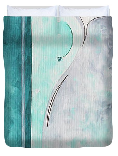 Decorative Floral Vase Painting Shabby Chic Style Relax And Unwind I By Madart Studios Duvet Cover by Megan Duncanson