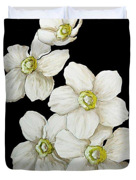 Decorative White Floral Flowers Art Original Chic Painting Madart Studios Duvet Cover by Megan Duncanson