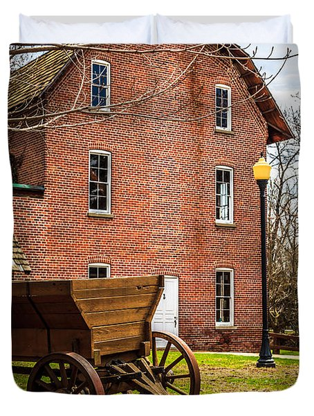 Deep River Wood's Grist Mill and Wagon Duvet Cover by Paul Velgos